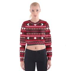 Asterey Red Pattern Women s Cropped Sweatshirt