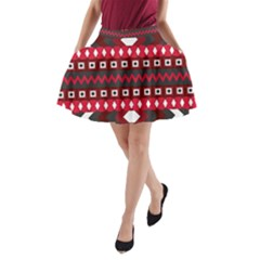 Asterey Red Pattern A Line Pocket Skirt