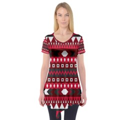 Asterey Red Pattern Short Sleeve Tunic