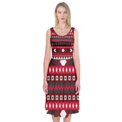 Asterey Red Pattern Midi Sleeveless Dress