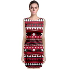 Asterey Red Pattern Classic Sleeveless Midi Dress