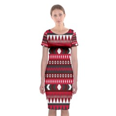 Asterey Red Pattern Classic Short Sleeve Midi Dress
