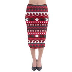 Asterey Red Pattern Midi Pencil Skirt