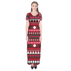 Asterey Red Pattern Short Sleeve Maxi Dress