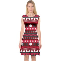 Asterey Red Pattern Capsleeve Midi Dress