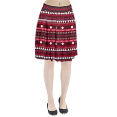 Asterey Red Pattern Pleated Skirt