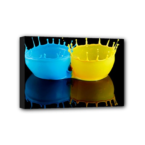 Bicolor Paintink Drop Splash Reflection Blue Yellow Black Mini Canvas 6  X 4
