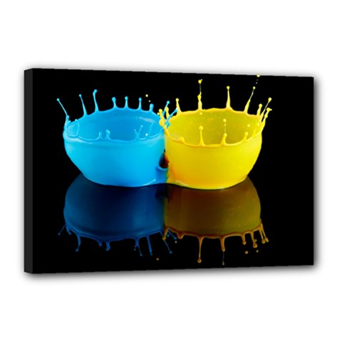 Bicolor Paintink Drop Splash Reflection Blue Yellow Black Canvas 18  X 12  by AnjaniArt