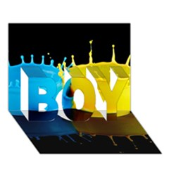 Bicolor Paintink Drop Splash Reflection Blue Yellow Black Boy 3d Greeting Card (7x5)