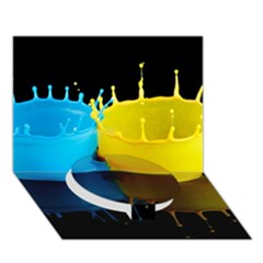 Bicolor Paintink Drop Splash Reflection Blue Yellow Black Circle Bottom 3d Greeting Card (7x5)