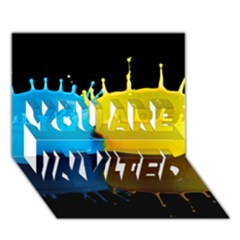 Bicolor Paintink Drop Splash Reflection Blue Yellow Black You Are Invited 3d Greeting Card (7x5)