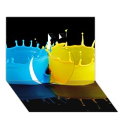 Bicolor Paintink Drop Splash Reflection Blue Yellow Black Apple 3d Greeting Card (7x5)