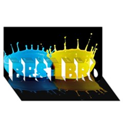 Bicolor Paintink Drop Splash Reflection Blue Yellow Black Best Bro 3d Greeting Card (8x4)