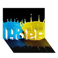Bicolor Paintink Drop Splash Reflection Blue Yellow Black Hope 3d Greeting Card (7x5)