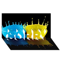 Bicolor Paintink Drop Splash Reflection Blue Yellow Black Sorry 3d Greeting Card (8x4)