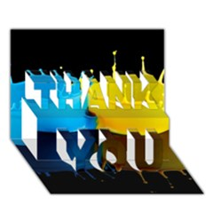 Bicolor Paintink Drop Splash Reflection Blue Yellow Black Thank You 3d Greeting Card (7x5)