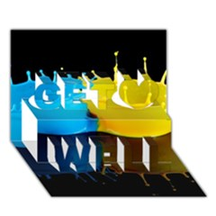 Bicolor Paintink Drop Splash Reflection Blue Yellow Black Get Well 3d Greeting Card (7x5)