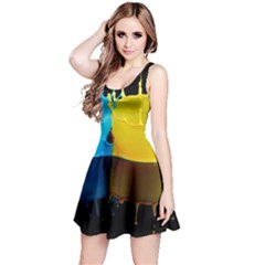 Bicolor Paintink Drop Splash Reflection Blue Yellow Black Reversible Sleeveless Dress by AnjaniArt