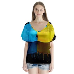 Bicolor Paintink Drop Splash Reflection Blue Yellow Black Flutter Sleeve Top