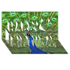 Bird Peacock Happy Birthday 3d Greeting Card (8x4)