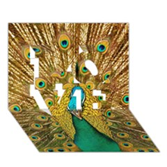 Bird Peacock Feathers Love 3d Greeting Card (7x5)