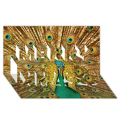 Bird Peacock Feathers Merry Xmas 3d Greeting Card (8x4)