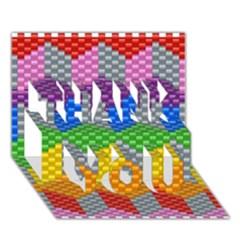 Block Pattern Kandi Pattern Thank You 3d Greeting Card (7x5) by AnjaniArt