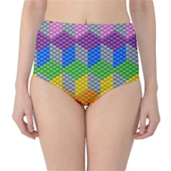 Block Pattern Kandi Pattern High Waist Bikini Bottoms by AnjaniArt