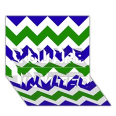 Blue And Green Chevron Pattern YOU ARE INVITED 3D Greeting Card (7x5) by AnjaniArt