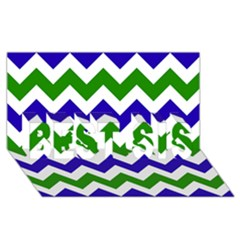 Blue And Green Chevron Pattern Best Sis 3d Greeting Card (8x4) by AnjaniArt