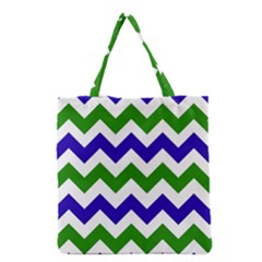 Blue And Green Chevron Pattern Grocery Tote Bag by AnjaniArt