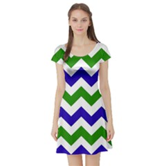Blue And Green Chevron Pattern Short Sleeve Skater Dress by AnjaniArt