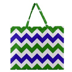 Blue And Green Chevron Pattern Zipper Large Tote Bag