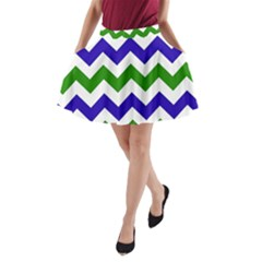 Blue And Green Chevron Pattern A Line Pocket Skirt