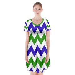 Blue And Green Chevron Pattern Short Sleeve V Neck Flare Dress