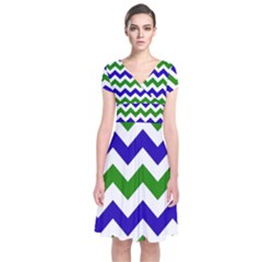 Blue And Green Chevron Pattern Short Sleeve Front Wrap Dress
