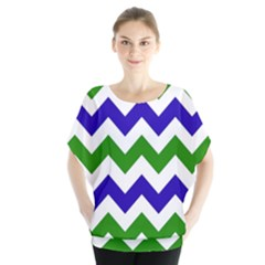 Blue And Green Chevron Pattern Blouse