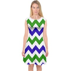 Blue And Green Chevron Pattern Capsleeve Midi Dress