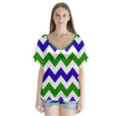 Blue And Green Chevron Pattern Flutter Sleeve Top