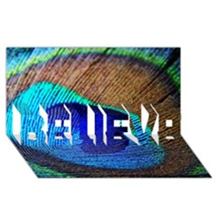 Blue Peacock Believe 3d Greeting Card (8x4)