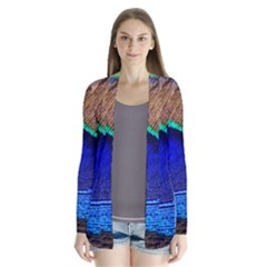 Blue Peacock Drape Collar Cardigan by AnjaniArt