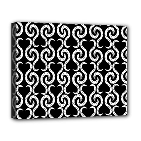 Black And White Pattern Deluxe Canvas 20  X 16   by Valentinaart