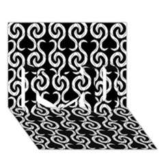 Black And White Pattern I Love You 3d Greeting Card (7x5)
