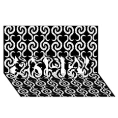 Black And White Pattern Sorry 3d Greeting Card (8x4) by Valentinaart