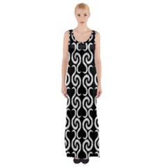 Black And White Pattern Maxi Thigh Split Dress by Valentinaart