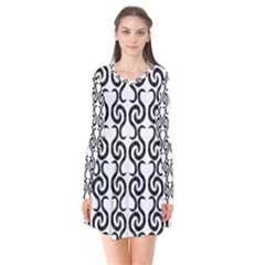 White and black elegant pattern Flare Dress