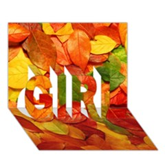 Colorful Fall Leaves Girl 3d Greeting Card (7x5) by AnjaniArt