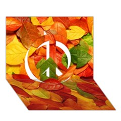 Colorful Fall Leaves Peace Sign 3d Greeting Card (7x5) by AnjaniArt