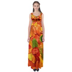 Colorful Fall Leaves Empire Waist Maxi Dress by AnjaniArt