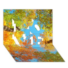 Colorful Leaves Sky Love 3d Greeting Card (7x5) by AnjaniArt